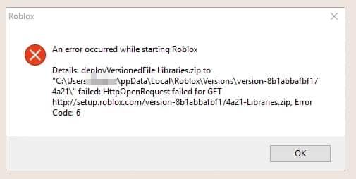 Roblox error code 6