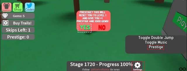 how to do a prestige in Mega Fun Obby