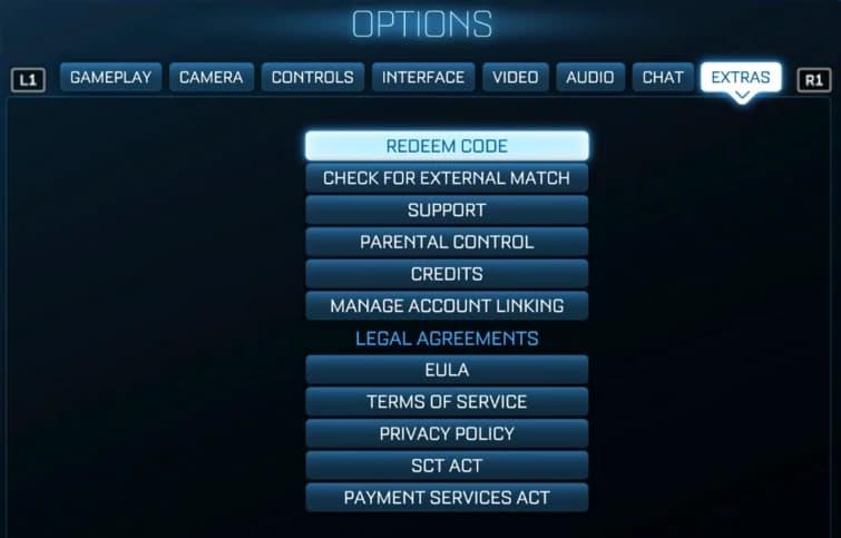 redeem Rocket League codes