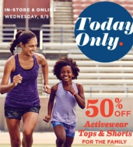 8bfcc6df8d Today only, Old Navy is offering 50% Off Activewear Tops & Shorts for Whole  Family valid both in-store and online! Limit 5 per customer, per  transaction.