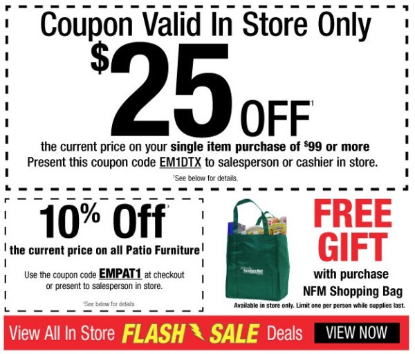 Nebraska Furniture Mart One Day Only In Store Flash Deals 25 Off