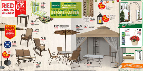 Amazing Need some new patio furniture If you ure an Aldi shopper while quantities last select Aldi stores will be offering up nice deals on patio furniture