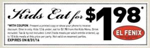 El Fenix Kids Meals $1.98