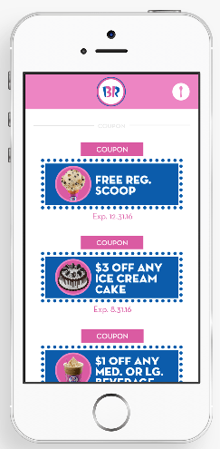 FREE ice cream with Baskin Robbins app!