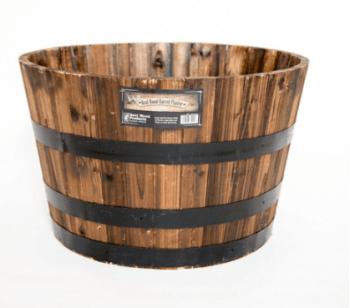 Real Wood 26 In Dia Cedar Half Whiskey Barrel Planter Only 29 98