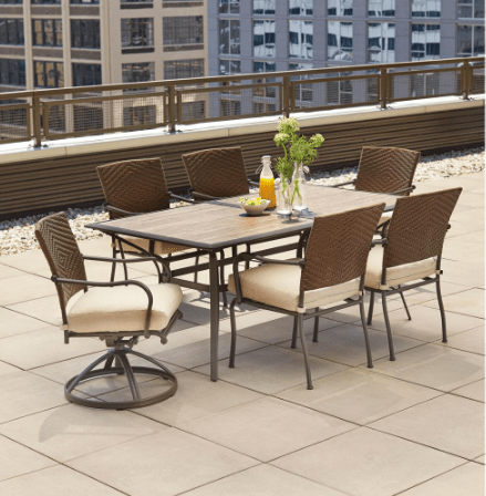 Cool Check out this Hampton Bay Pin Oak Piece Wicker Outdoor Dining Set for with free shipping That us the lowest price It features a ceramic