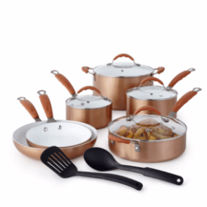 Cooks Copper 12 Piece Ceramic Cookware Set Only 79 99