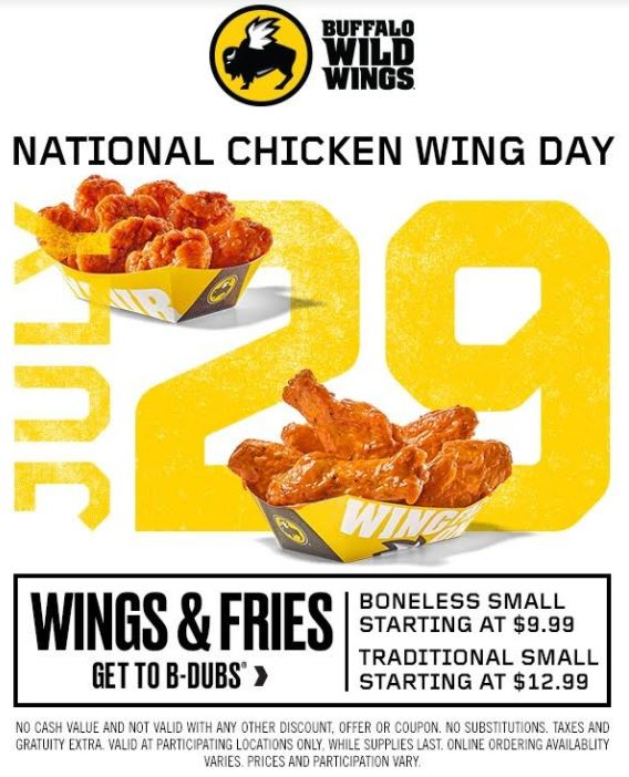 picture regarding Buffalo Wild Wings Printable Coupons called Buffalo Wild Wings Nationwide Hen Wing Working day Offer you + $20