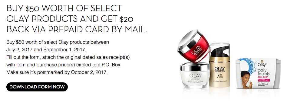 Olay Mail-In Rebate~ Buy $50 Of Olay Products To Get $20 Pre-Paid ...