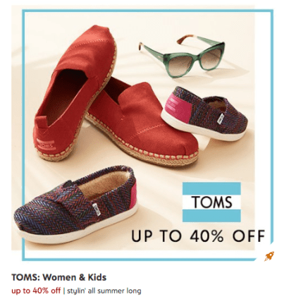 07e25019ed4b Head on over to Zulily where they are offering up to 40% off TOMS shoes and  sunglasses for Women and Kids! There are tons of adorable styles   super  comfy ...