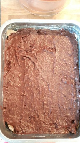 Brownie mixture before going in the oven