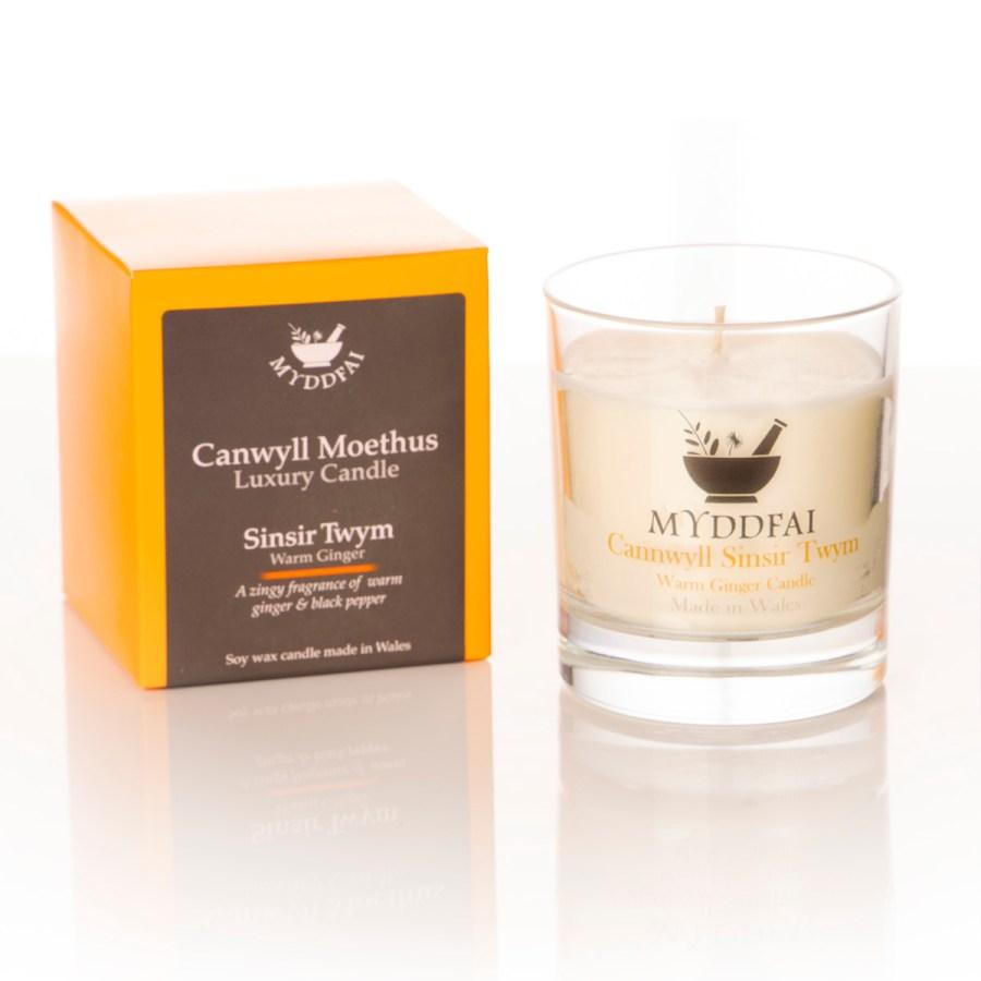 Canwyll Moethus Sinsir Twym - Warm Ginger Candle