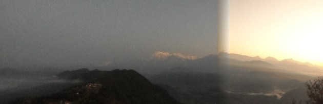 Panoramic view while sun is rising