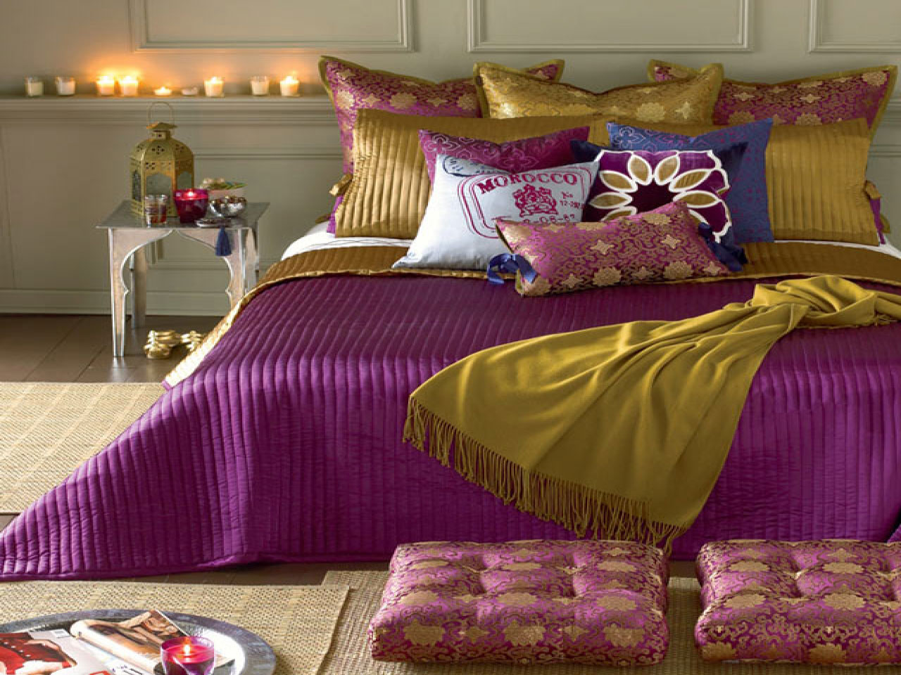 decorative bed and throw pillows my