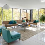 Awesome Vintage Retro Furniture Living Room Equipped Glossy White Marble And White Ceiling With Vintage Teal Green Chairs And Brown Sofa In The Center Room Mix White Arch Lamp With Large Glass Windows My Decorative