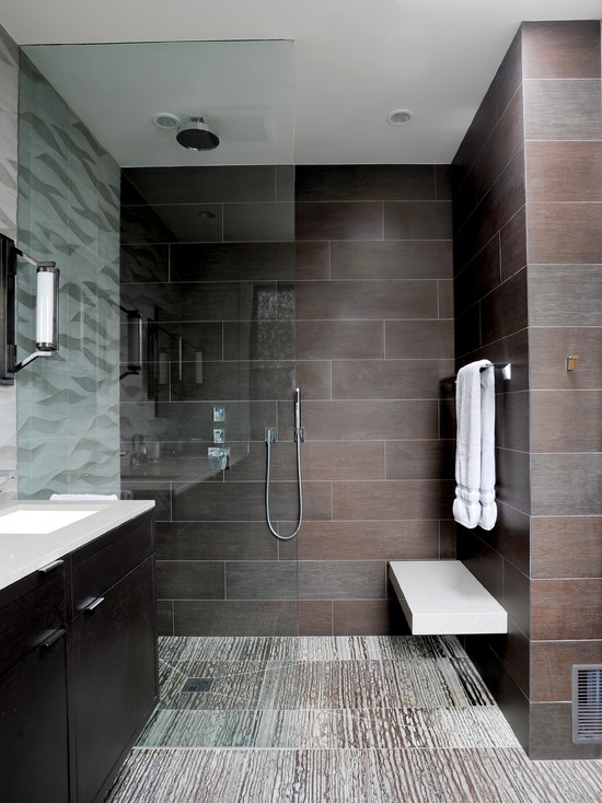 modern bathroom with glass wall and