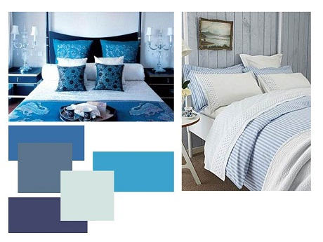 Blue is the perfect colour for a bedroom as it is very restful on the eye. Image from hearthomemag.co.uk