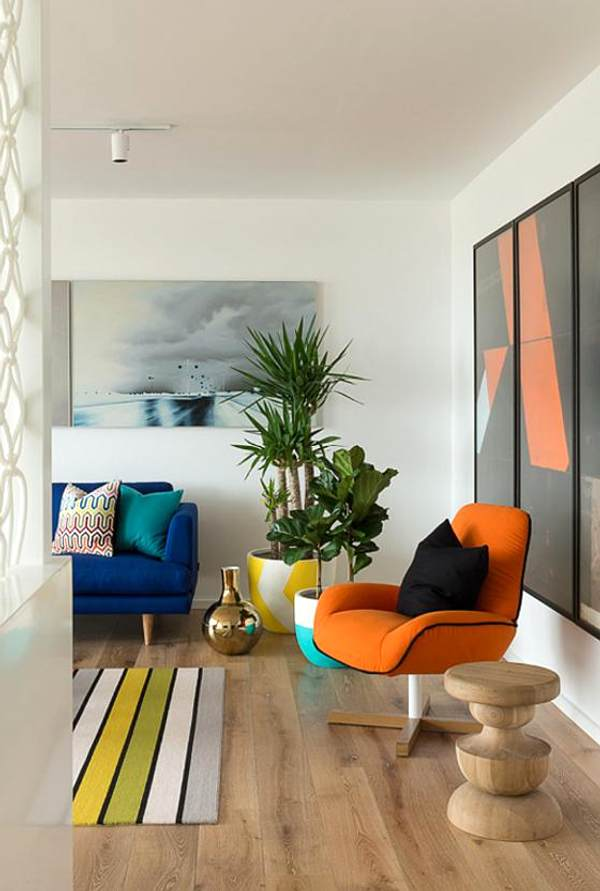 living room colorful -wood