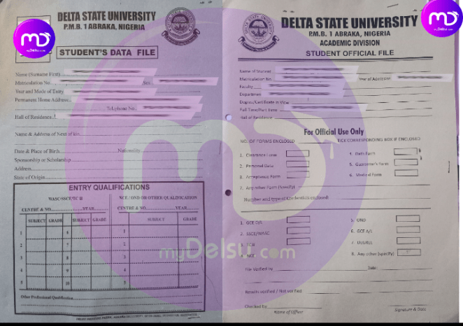 student data and student official file