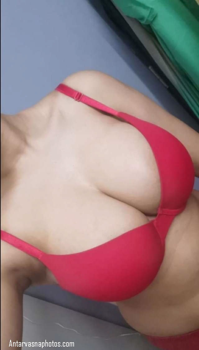 red bra me big boobs