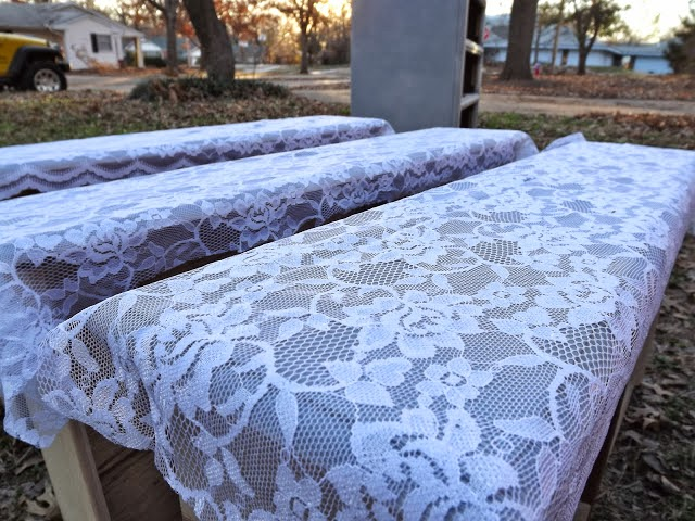 Transform old furniture with lace and spray 1