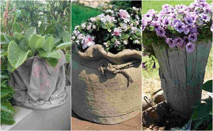 diy pots in the garden made of cement and old clothes (1)