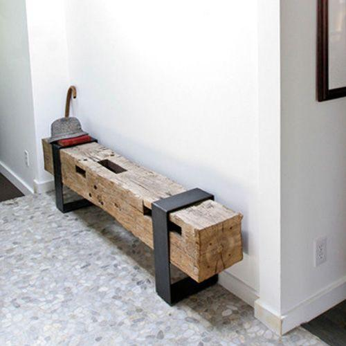 Decorate with benches and natural wood logs4