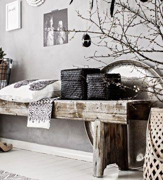 Decorate with benches and natural wood logs9