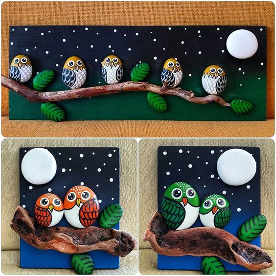 Christmas painting on stones and pebbles (13)