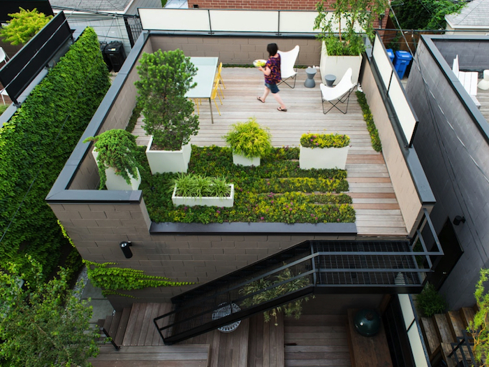 Rooftop Patio Design Ideas Within Wonderful Exterior Modern Minimalist Rooftop Patio With Greenery And Wood For Rooftop Patio Design Ideas - Home Improvement