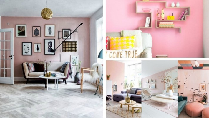 A pink wall in the living room - 15 Photos of how to ...