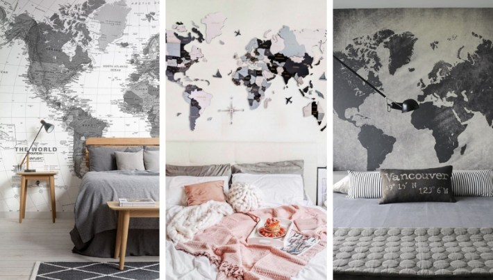 How to decorate adult bedrooms with maps