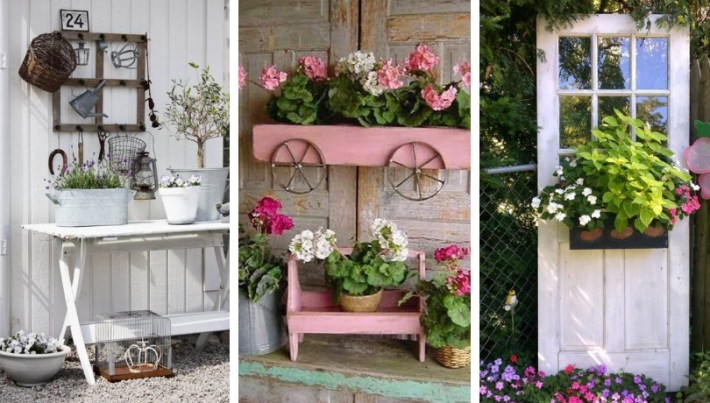 Do not rush to throw out old furniture and things: you can make charming DIY vintage decor for the garden