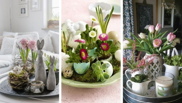 20 Great ideas on how to use an ordinary tray to create central spring decorations