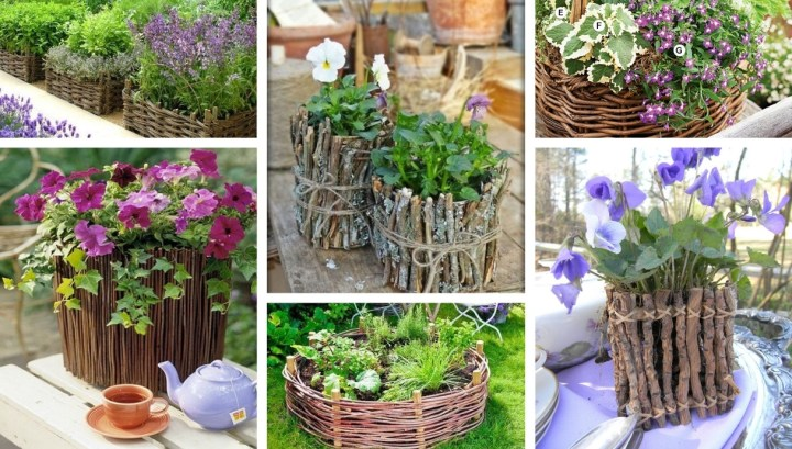 25 Inspirational ideas for beautiful natural DIY pots from  wicker and small twigs