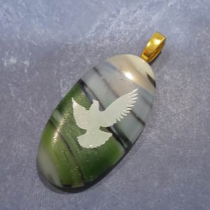 Fused Glass White Dove, blue, black, green background pic3