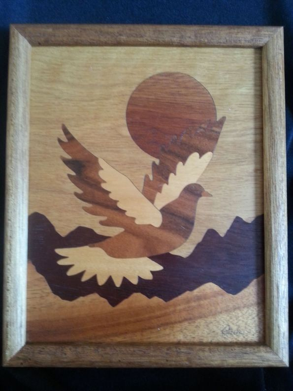 Sun Dove various woods marquetry picture 1