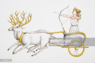 female fairy tale character with bow and arrow standing in a chariot pulled by reindeer