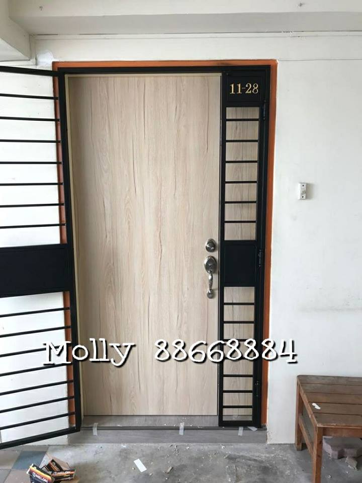 HDB Fire Rated Main Door at $1299 at Door Factory Price in Singapore by My Digital Lock Mall 88668884 , www.mydigitallock2018.com.sg