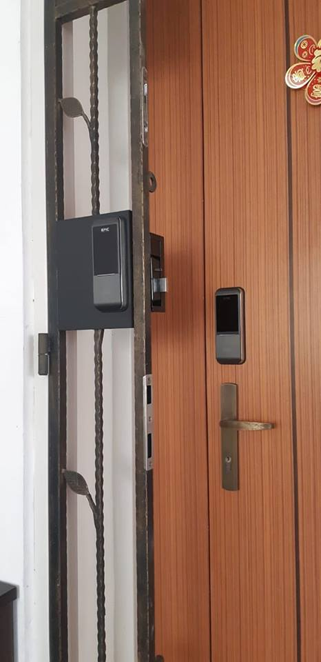 EPIC Gate digital lock for BTO HDB Fire rated door completed by Samy from My Digital Lock at $599 for both door and gate in Singapore , the best digital lock at lowest price in Singapore