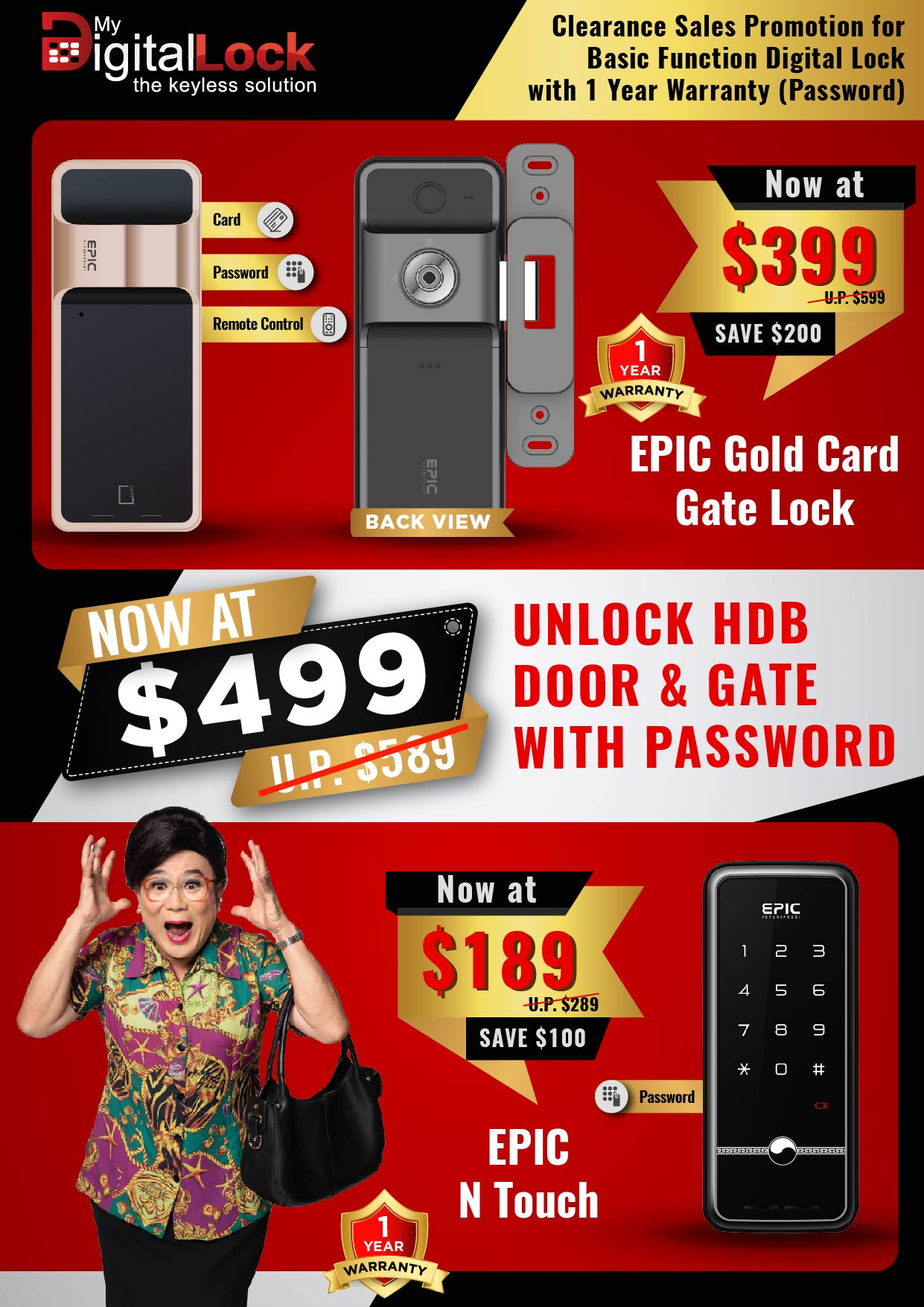 Basic Functionlity Digital Lock for HDB Door and Gate