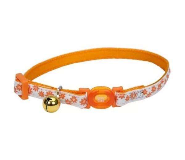 COASTAL Collar Gato Glow Reflectivo Flores Naranja