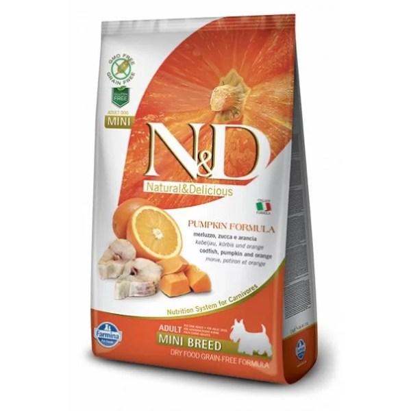 N&D Pumpkin Canine Adulto Mini Pescado, Calabaza y Naranja 2,5 Kg