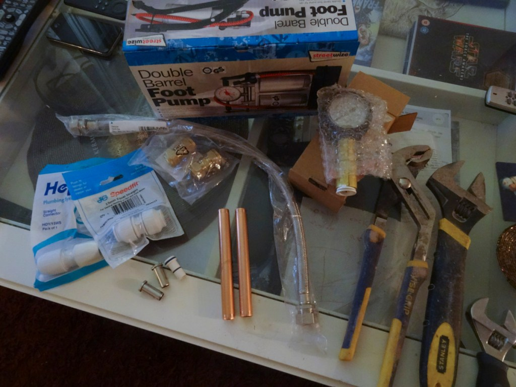 All the kit - and more - that you'll need to make this tester - DIY pipe testing tool