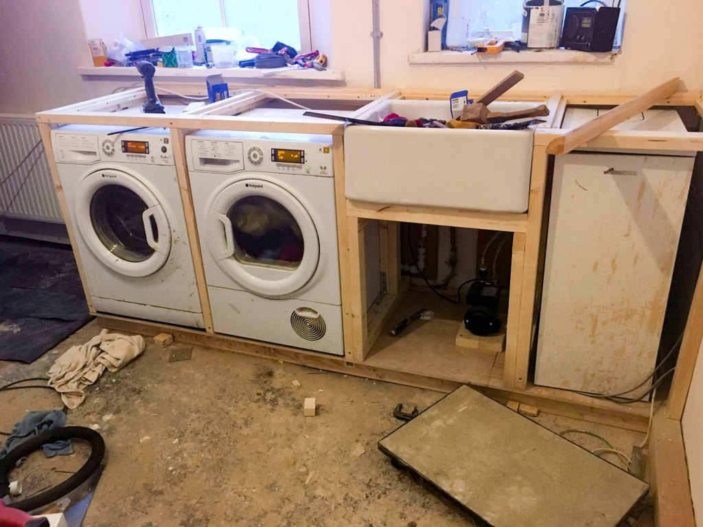 Sink, washer and dryer installed