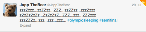 Duffy the Disney Bear learned about Olympic Sleeping Competition from @JappTheBear on Twitter