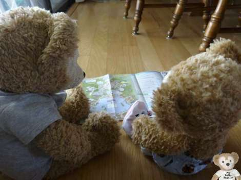 Duffy the Disney Bear reads the EPCOT map