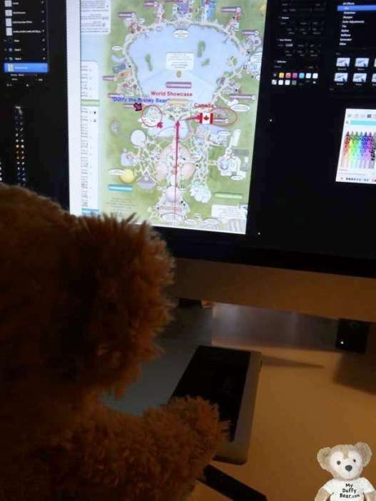 Duffy the Disney Bear works on EPCOT map in Pixelmator like Photoshop