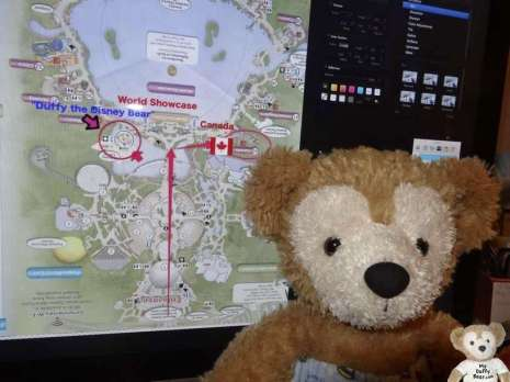 Duffy Disney Bear photoshop map of Canada in EPCOT