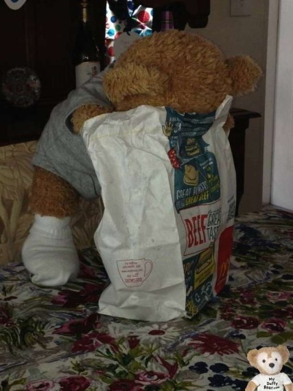 Duffy the Disney Bear eats McDonalds super sizied french fries